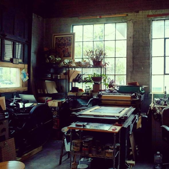 My letterpress studio at the I. Fell